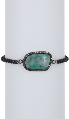 ADORNIA Diamond Halo & Light Emerald Beaded Bracelet