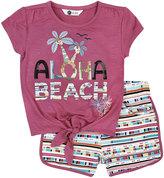 Petit Lem Aloha Beach Top & Shorts Set, Dark Pink, Size 5-6XT