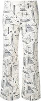 Tory Burch nautical print trousers - women - Cotton/Polyester/Spandex/Elastane - 26