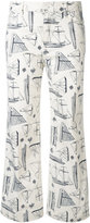 Tory Burch nautical print trousers - women - Cotton/Polyester/Spandex/Elastane - 27