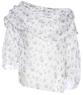Rosie Assoulin Off The Shoulder Floral Printed Silk Blouse