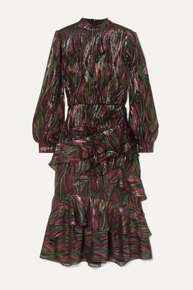 Saloni Isa Ruffled Metallic Silk-blend Jacquard Midi Dress - Black