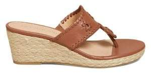 Jack Rogers Leather Wedge Espadrille Sandals