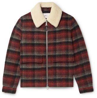Mr P. Shearling-Trimmed Checked Wool Jacket - Men - Red