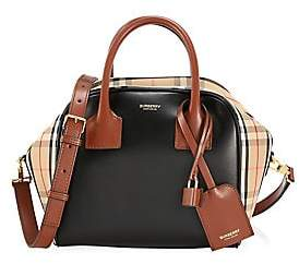Burberry Women's Small Vintage Check & Leather Cube Bag