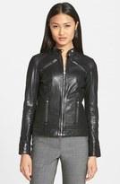 Women's Lamarque Leighton Stitch Detail Lambskin Leather Jacket