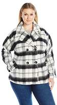 Jason Maxwell Women's Plus Size Cocoon Peacoat In Plaid