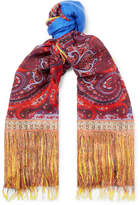 Etro Fringed Paisley-Print Modal And Linen-Blend Scarf