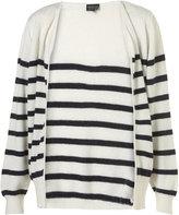 Knitted Cream Angora Mix Breton Stripe Cardigan