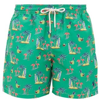 Polo Ralph Lauren Flamingo-print Swim Shorts - Mens - Green Multi