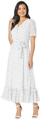 Calvin Klein Printed Chiffon Maxi Dress (White/Black) Women's Dress