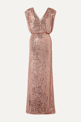 Monique Lhuillier Wrap-effect Sequined Stretch-tulle Gown - Pink