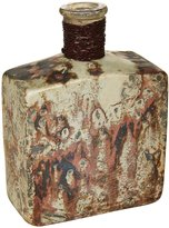 Creative Co-op Wire Wrapped Aluminum Bottle with Marble Design, Distressed Cream, Copper Finish