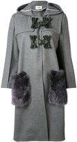 Fendi fur-trimmed single breasted coat - women - Lamb Skin/Spandex/Elastane/Cashmere/Virgin Wool - 42