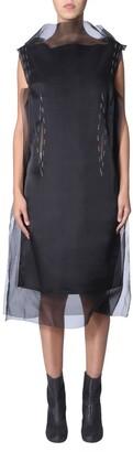 Maison Margiela Contrasting Stitch Detail Sheer Layered Dress