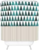 Deny Designs Teal Triangles Shower Curtain