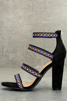 Bamboo Mariko Black Suede Embroidered Caged Heels