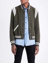 Saint Laurent Leather-trim wool bomber jacket