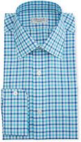 Charvet Men's Two-Tone Plaid Dress Shirt, Blue/Green