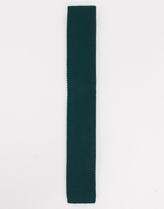 Twisted Tailor knitted tie in forest green