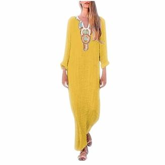 NEEDRA SALES Dresses Womens Printed Long Sleeve V-Neck Maxi Dress Split Hem Baggy Kaftan Long Dress (Yellow Sleeveless UK 14(XL))