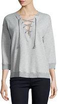 Soft Joie Lace-Up 3/4-Sleeve Sweatshirt, Heather Grey