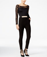 Material Girl Juniors' Belted Lace Jumpsuit, Only at Macy's