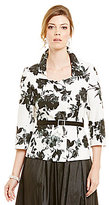 Alex Evenings Floral-Print Belted Blouse