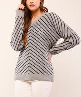 Navy & Gray Chevron V-Neck Sweater