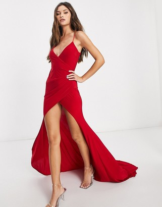 Club L London wrap front fishtail maxi dress in red