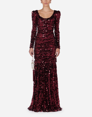 Dolce & Gabbana Long-Sleeved Dress With Sequined Sleeves