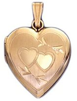 US Jewels And Gems 14k Yellow Gold 2 Photo Heart Locket