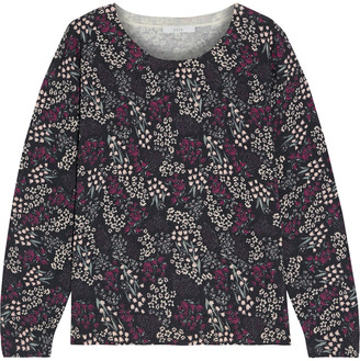 Joie Eloisa Floral-print Cotton And Cashmere-blend Sweater