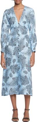 Sandro Paisley Long Sleeve Midi Dress