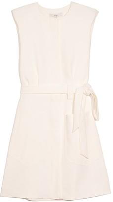 Tibi Chalky Drape Short Shirtdress in White