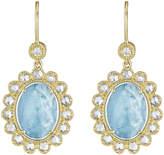 Penny Preville 18k Oval Aquamarine & Diamond Drop Earrings