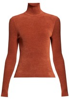 Alexandre Vauthier High-neck Ribbed Chenille Sweater - Womens - Brown