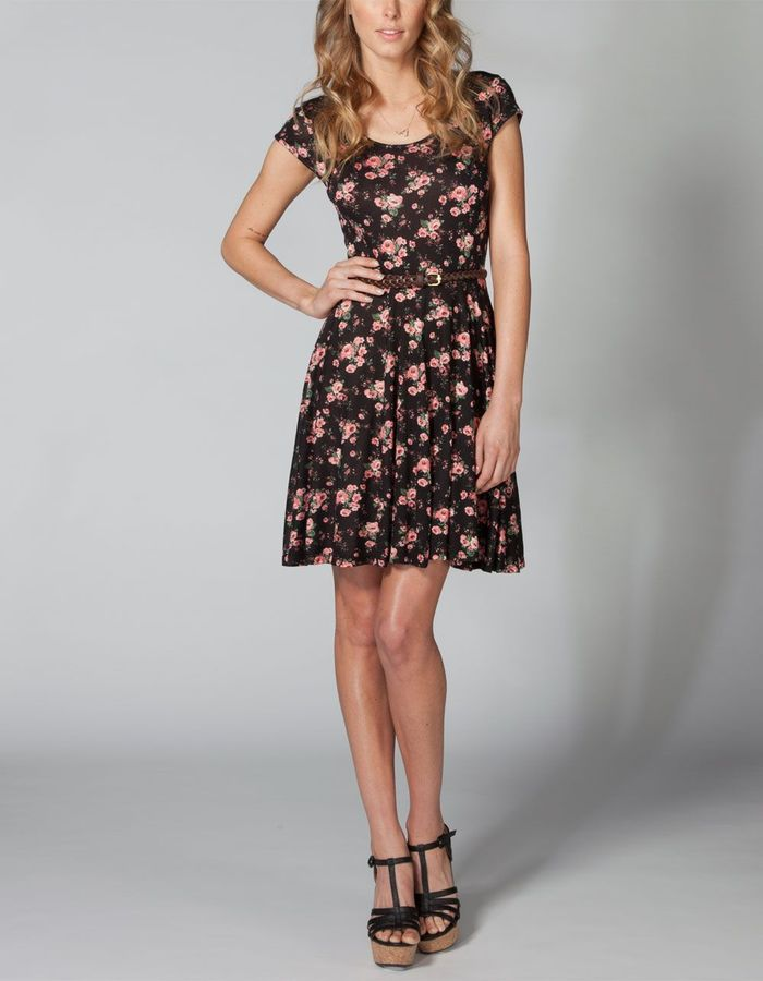 Full Tilt Floral Twist Back Skater Dress