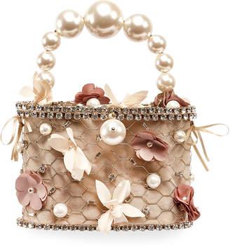 Rosantica Holli Flower Pearl-Handle Caged Minaudiere Bag