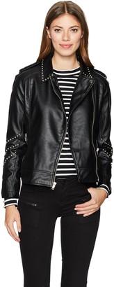 BB Dakota Women's Jerilyn Studded Pu Leather Moto Jacket