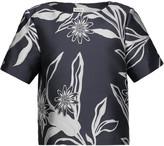 Suno Metallic floral-print jacquard top