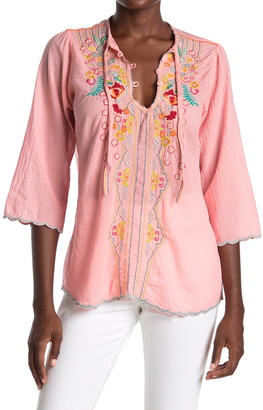 Johnny Was Limon Embroidered Scallop Edge Blouse