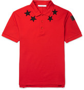 Givenchy Cuban-Fit Star-Appliquéd Cotton-Pique Polo Shirt