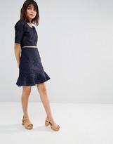 J.o.a. Lace Peplum Mini Skirt