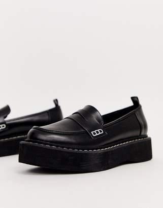 Asos Design DESIGN Maxis chunky flatform loafer-Black