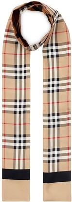 Burberry Vintage Check logo print silk scarf