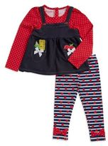 Nannette Little Girl's Mock-Layer Top and Apple Print Leggings Set