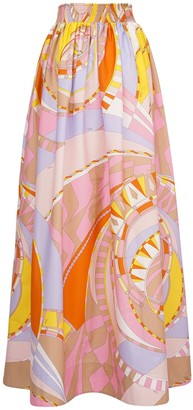 Emilio Pucci High Waist Printed Cotton Maxi Skirt