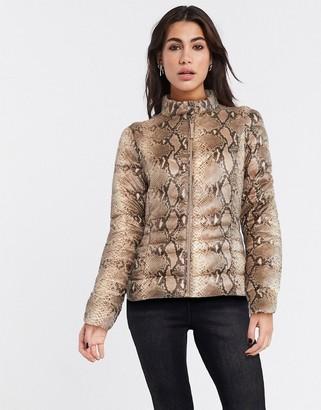Vero Moda padded jacket in snake print