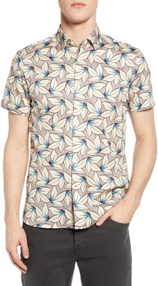 Ted Baker Slim Fit Floral Short Sleeve Button-Up Shirt